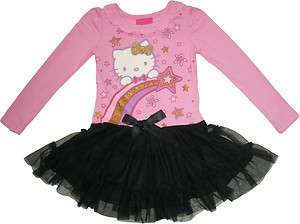 Sanrio Hello Kitty Girls Pink + Black Tulle Dress Size 2T 6X