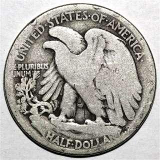 US COIN 1916 D 1916D WALKING LIBERTY SILVER HALF DOLLAR V102 VARIETY
