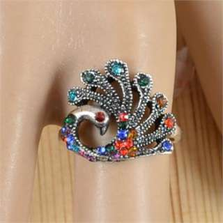 Lot 10pcs Antique Silver Plated Costume Cocktail Peacock Crystal Rings