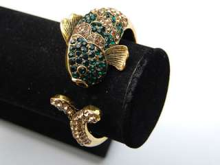 Emerald Topaz Crystal Rhinestone Koi Fish Cuff Bangle Bracelet
