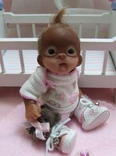OOAK Baby Orangutan Monkey Sculpted Polymer Clay Art Doll Poseable