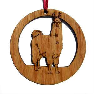Oak Wooden Llama Personalized Christmas Ornament 4 Inch Round New