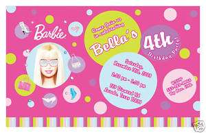 Set of 10 Barbie Personalized Birthday Invitations