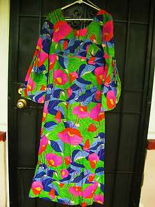 ALFRED SHAHEEN HAWAII MAXI DRESS BRIGHT POPPIES COTTON BELL SLEEVES M