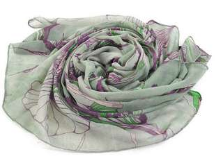 Green Women's Fashion Ink Hand Painted Scarf Shawl Wrap