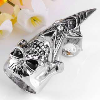 1PC Crystal Sharp Skull Style Double Joint Finger Ring Punk Gothic Men