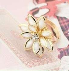 G4488 Fashion Womens Gold&White Camellia Flower Ring Size 7 8