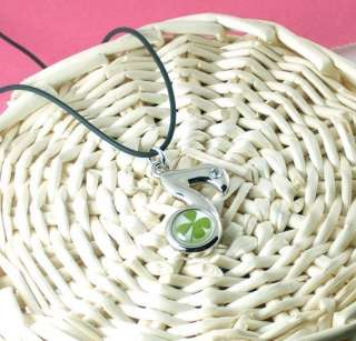 necklace pendant one real four leaf clover set in lucite length 40cm