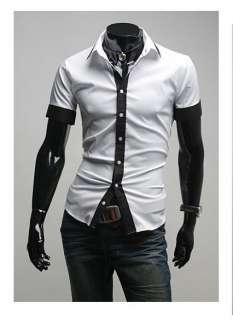 Black Shirt Dress on 3mu Mens Designer Slim Dress Short Shirt Top Tie Line Black White S M