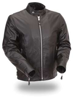 Mens Black Leather Classic Scooter Jacket Zip Out Liner