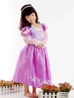 New Disney Princess TANGLED RAPUNZEL COSTUME Girls Dresses w/o Wig