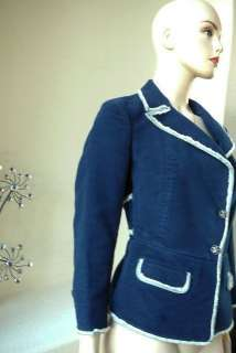 AUTHENTIC EXQUISITE CHANEL TWEED JACKET WITH CC LOGO BUTTONS NAVY WITH