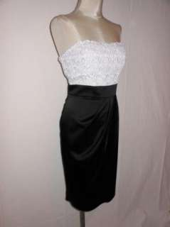 Tadashi Shoji Black Satin White Lace Bodice Strapless Cocktail Dress