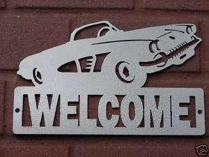 VINTAGE CORVETTE WELCOME SIGN HOME DECOR METAL CHEV CAR