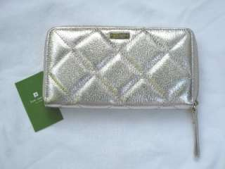 PLATINUM QUILTED LEATHER 59TH STREET NEDA CLUTCH WALLET
