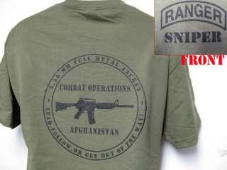 RANGER SNIPER T SHIRT/ AFGHANISTAN COMBAT OPS T SHIRT