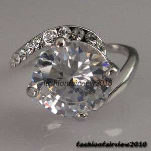 White Gold GP Swarovski Crystals Solitaire Party Engagement Wedding