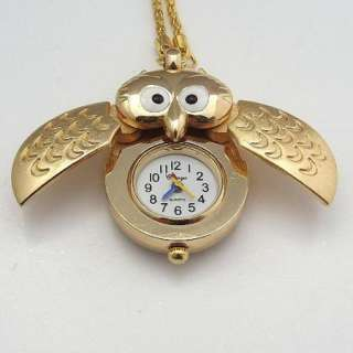 1pcs Gold color necklace pendant watches cute owl,A26