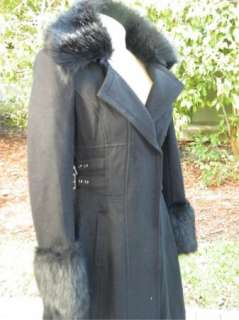 BEBE JACKET coat WOOL black lace FAUX FUR BELTED 186495 long