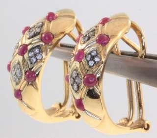 14k yellow gold .24ct ruby diamond hoop earrings 8.1g vintage estate