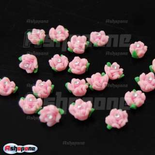 Pink Ceramic Rose Flower Rhinestones For 3D Nail Art Tips Decorations