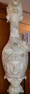 ANTIQUE 19TH CENTURY HUGE MARBLE SCULPTURE EWER PEDESTAL