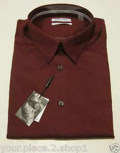 Calvin Klein Mens Slim Fit Stretch Burgundy Dress Shirt