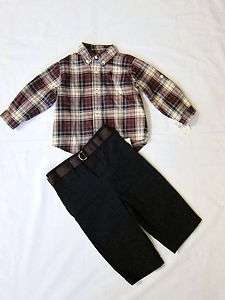 NWT Polo Ralph Lauren Boys Sz 3m Plaid Shirt & Chino Pant Set 2Pcs
