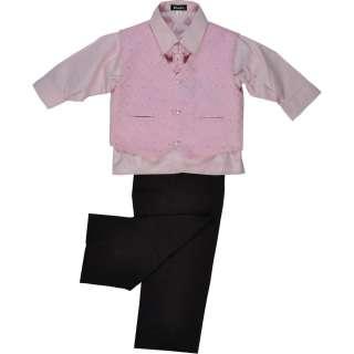 Boys 4 Piece Pink & Black Suit