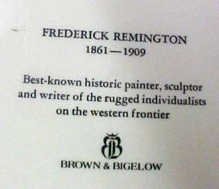 Vintage Frederick Remington USA Brown Bigelow Plate