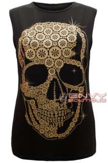 SKULL PRINT SLEEVELESS T SHIRT VEST DRESS TOP SIZE 8 10 12 14