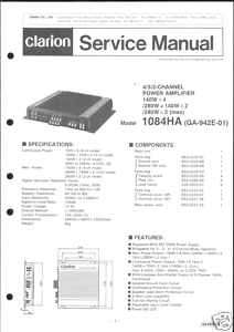 Clarion Original Service Manual f. CAR Amplif. 1084 HA