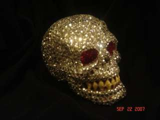 Hand Made Rinestone Covered Skull OOAK Halloween SCARY!