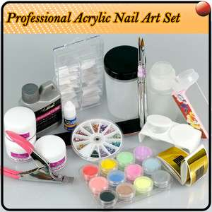 Nail Art Pro Acrylic Liquid French Tips Full Set Kit UK