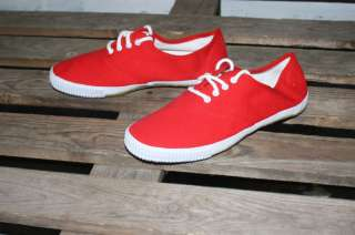 RETRO RED LACE UP ON PUMPS CANVAS PLIMSOLLS NEW VINTAGE