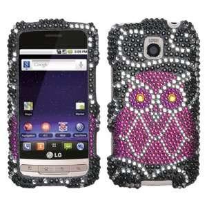 Owl Design Diamond Crystal Bling Case for LG Optimus M