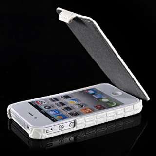Krokodil Leder Tasche Flip Case Hülle Schale für Apple iPhone 4 4G