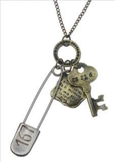 Vintage Style Pin Key Tag Charm Pendant Necklace