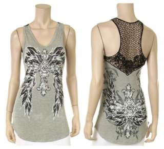 CRYSTAL CROSS ANGEL WINGS TATTOO LACE FISHNET TANK TOP T SHIRT