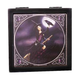 Broomstick Ceramic Tile Topped Wooden Box Lisa Parker Wicca Witchcraft