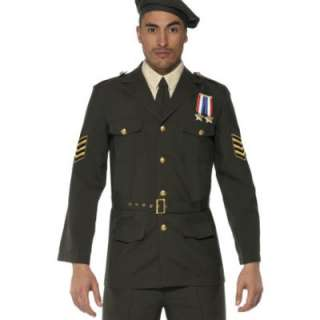 Military Army Officer 1940s Fancy Dress Mens Costume ML