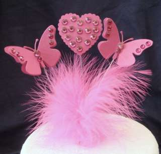 3D diamante butterfly / heart birthday celebration/cake topper