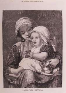 VICTORIAN BABY MOTHER NURSING COSTUME TEA TIME c1872