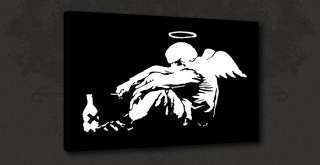 BANKSY FALLEN ANGEL BLACK GRAFFITI CANVAS PRINT ART