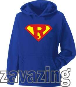 SUPERMAN LOGO LETTER INITIAL R UNISEX HOODIE HOODY SUPER HERO FANCY