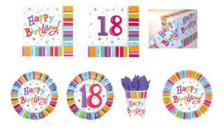18th Birthday Party Plates, Napkins, Tablecover, Cups