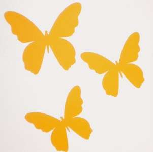 21 YELLOW BUTTERFLY WALL STICKERS NURSERY REMOVABLE