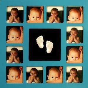 IMPRESIÓN MANO PIE HUELLA BEBE + MARCO D 12 FOTOS 35x35