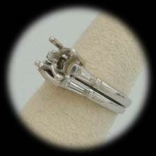 1CTW SIDE DIAMONDS PLATINUM BRIDAL/ WEDDING RING SET