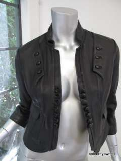 Robert Rodriguez Black Leather Button Fitted Jacket 6
